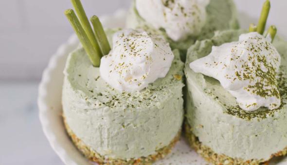 Cheesecakes de matcha sin horneado 2